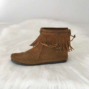 Minnetonka Concho & Braided Leather Moccasin Boots